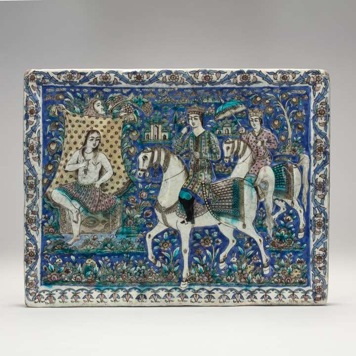 Qajar Tile Depicting Khosrow and Shirin