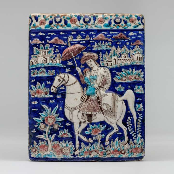 Qajar Tile with Horse and Rider