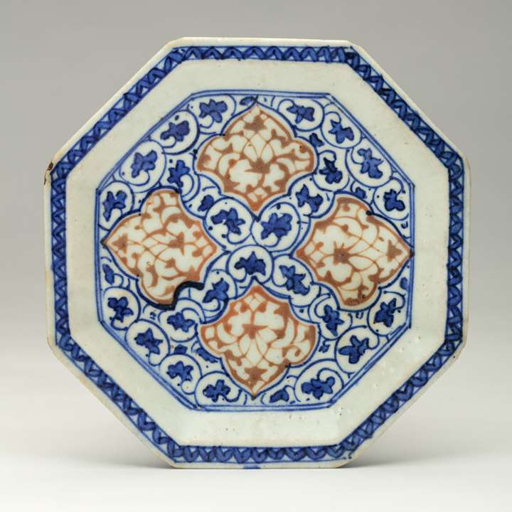 Safavid Blue and Red Pottery Dish