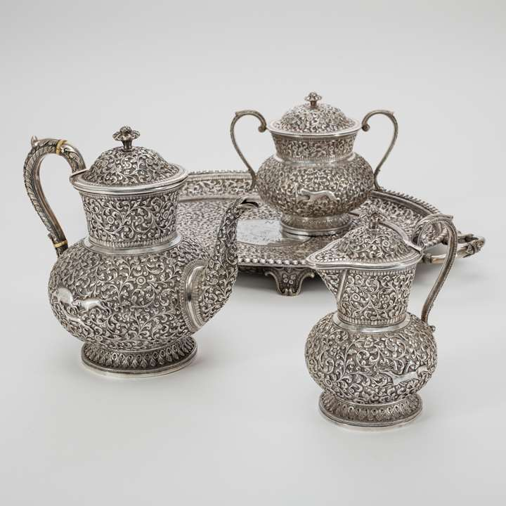 Silver Indian Teaset with Tray, Shamji Mukonji