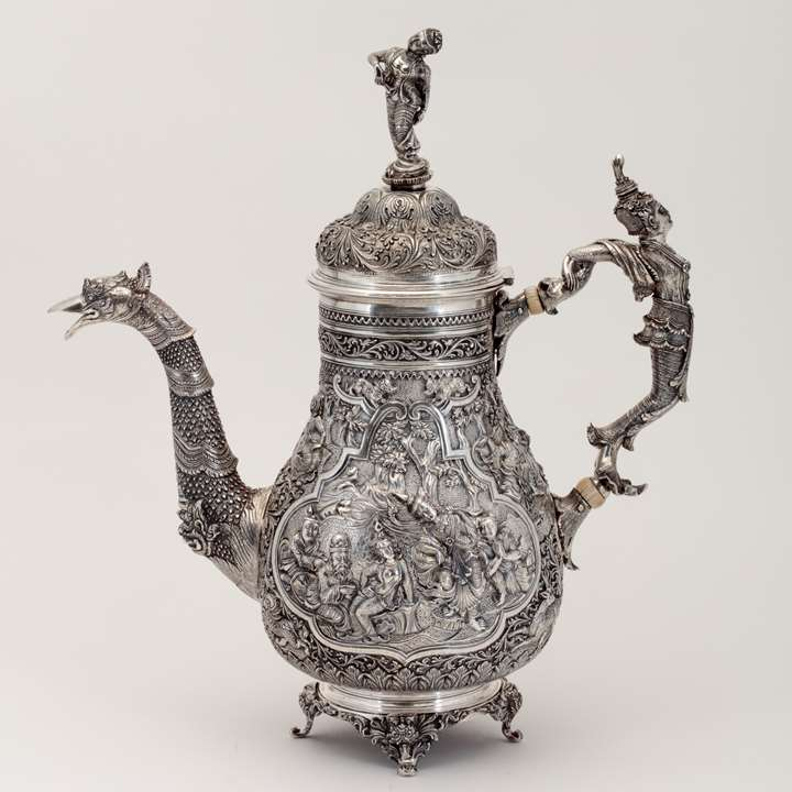 Silver Repoussé Coffee Pot