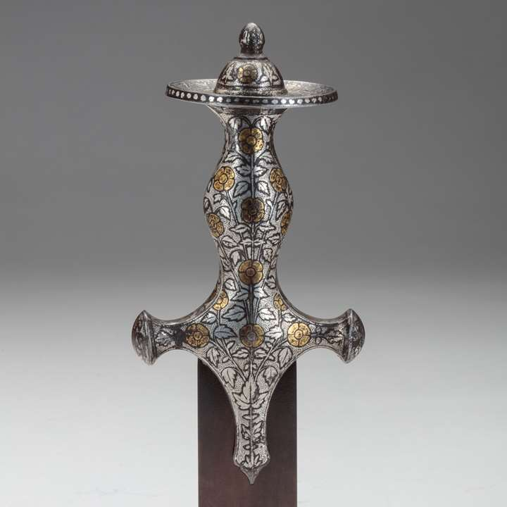 Silver Tulwar Hilt with Gold Overlay