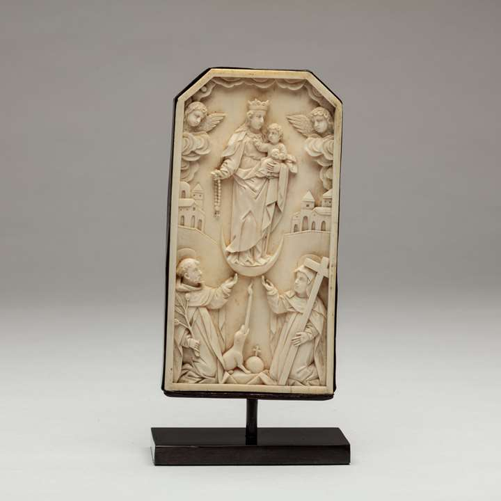 Sino-Portuguese Ivory Plaque of Mary Giving the Rosary to St Dominic