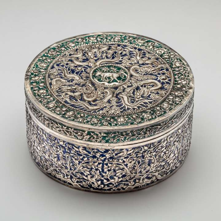 Straits Chinese Silver Enamel Container with Khmer inscription
