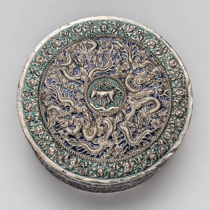 Straits Chinese Silver Enamel Container with Khmer inscription | MasterArt