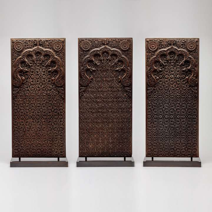 Three Anglo-Indian Carved Wood Panels