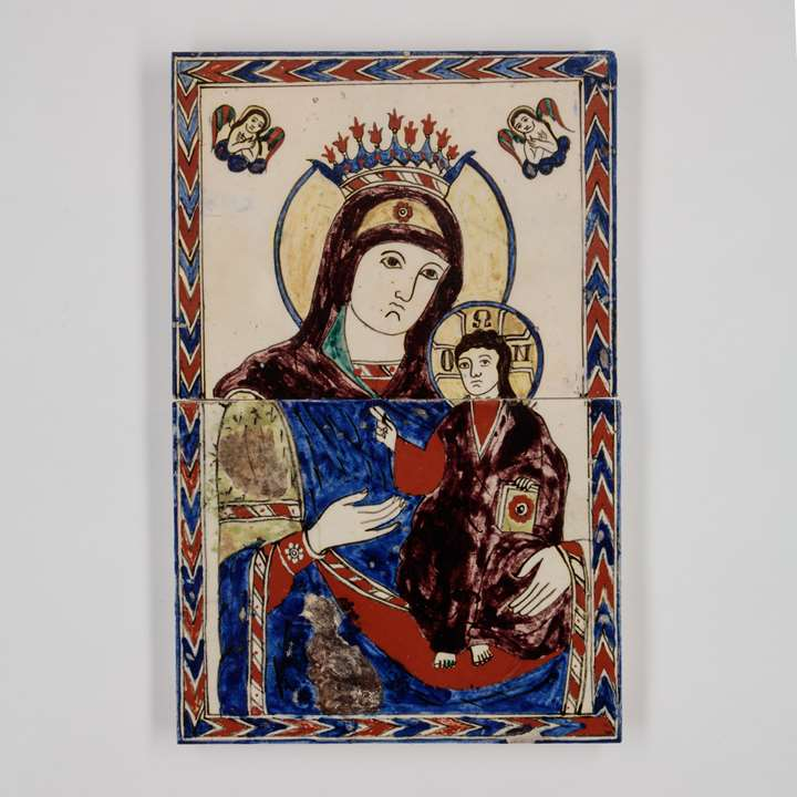 Tile Panel Depicting Virgin Mary and Child