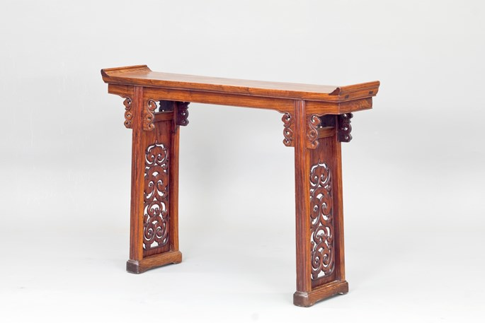 A Huanghuali Wood Altar Table with Flanges | MasterArt