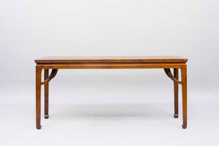 A Huanghuali Wood Long Table with Giant Arm Braces