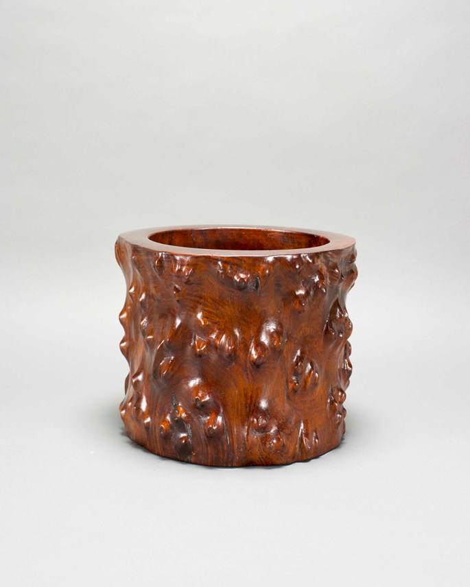 A Huanghuali Wood Root Brush Pot | MasterArt