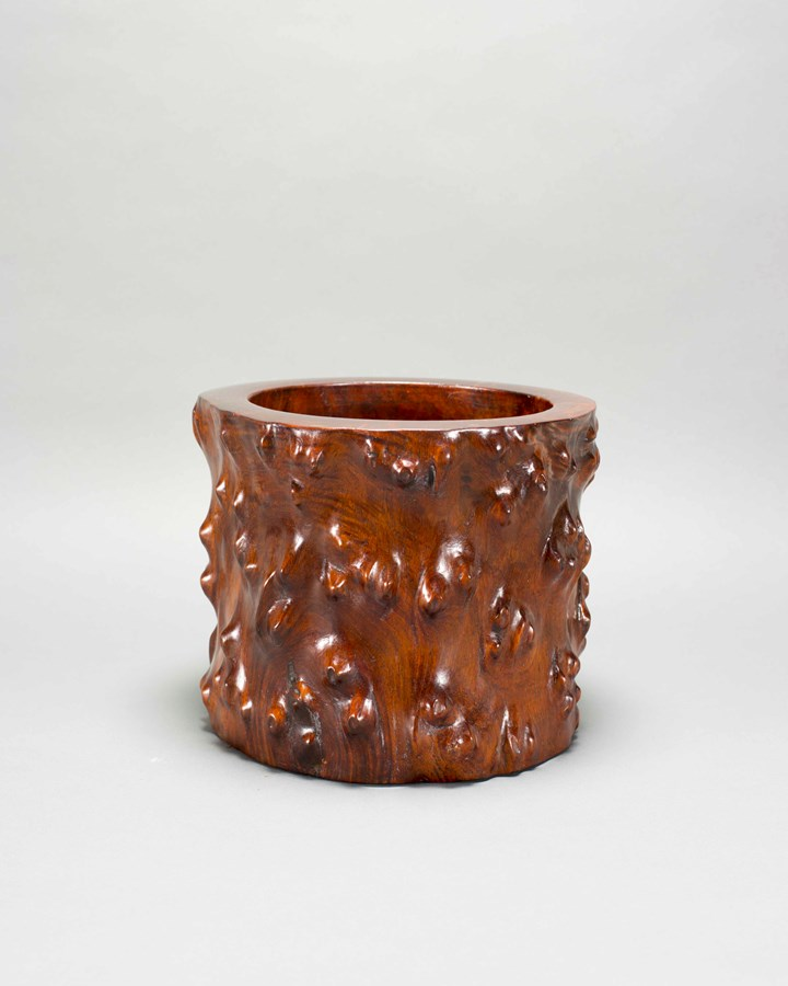 A Huanghuali Wood Root Brush Pot