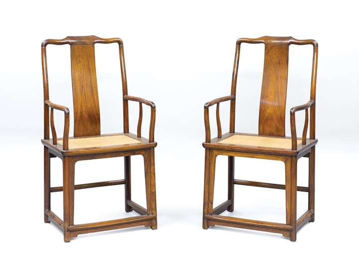 A pair of Huanghuali Wood High Back Armchairs