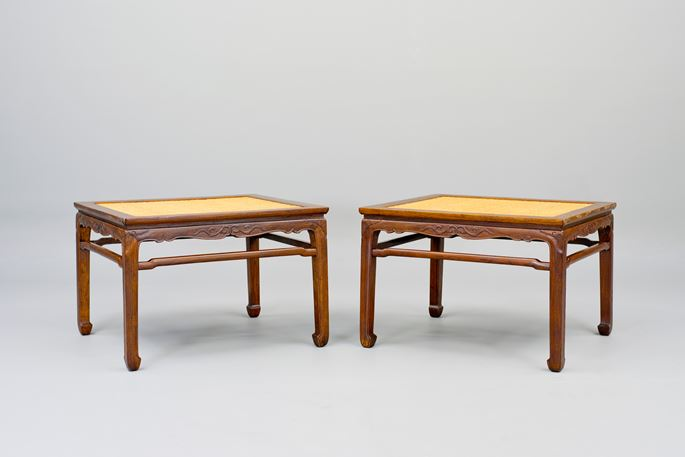A pair of Huanghuali Wood Meditation Stools | MasterArt