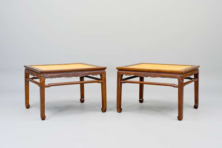 A pair of Huanghuali Wood Meditation Stools