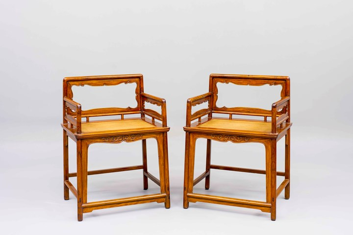 A pair of Huanghuali Wood Rose Chairs