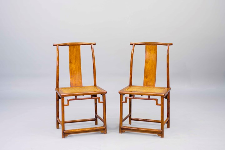 A pair of Huanghuali Wood Side Chairs