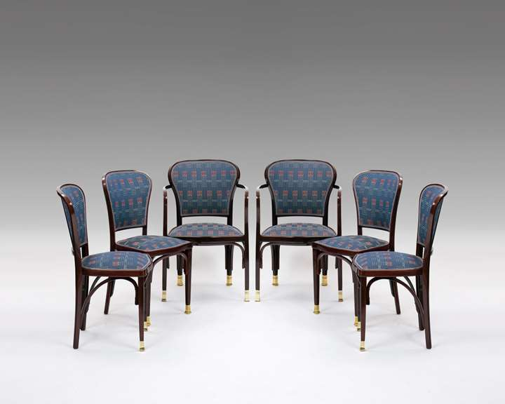 A PAIR OF ARMCHAIRS AND FOUR CHAIRS