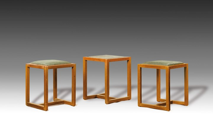 TWO STOOLS, A SMALL TABLE
