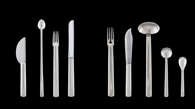 Josef Hoffmann / Wiener Werkstätte - BUTTER KNIFE, SILVER LEMONADE SPOON, HORS D'OEUVRE FORK, TABLE KNIFE, FISH FORK AND KNIFE, TABLE SPOON, COFFEE SPOON, ICE CREAM SPOON | MasterArt