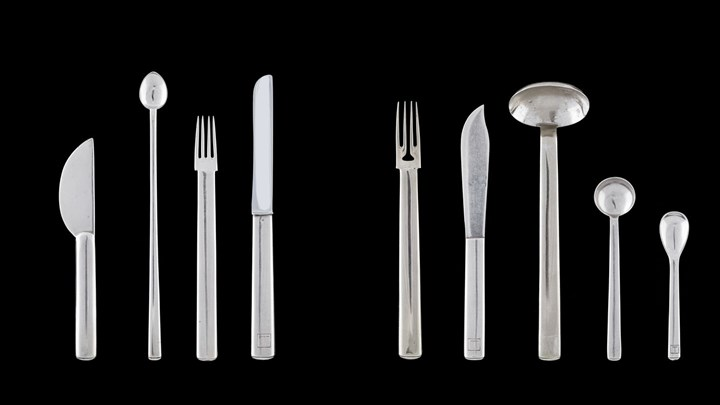 BUTTER KNIFE, SILVER LEMONADE SPOON, HORS D'OEUVRE FORK, TABLE KNIFE, FISH FORK AND KNIFE, TABLE SPOON, COFFEE SPOON, ICE CREAM SPOON