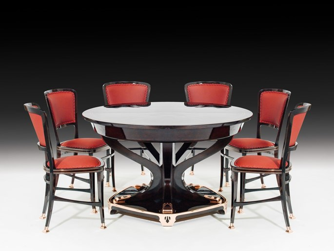 "Portois & FIX - STATELY DINING ROOM ENSEMBLE ""MODELL LONDON"" consisting of: large sideboard, small sideboard, dining-room table for 18 people, 6 chairs 