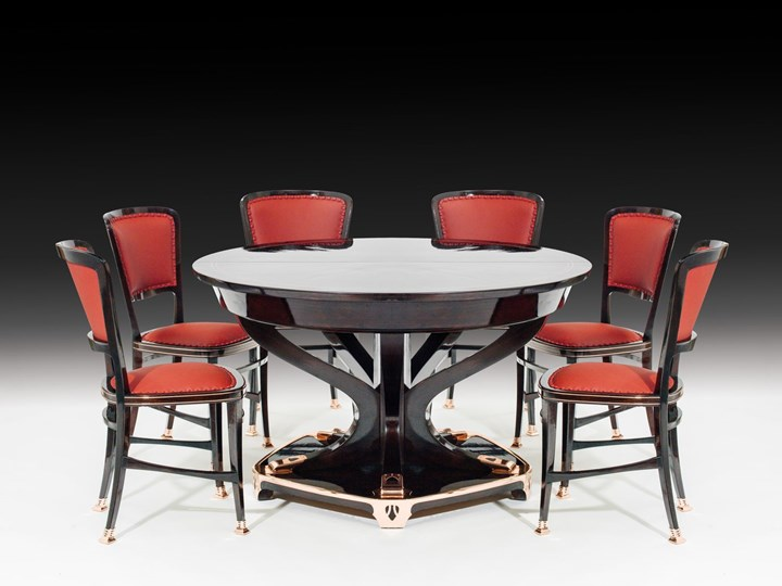 "STATELY DINING ROOM ENSEMBLE ""MODELL LONDON"" consisting of: large sideboard, small sideboard, dining-room table for 18 people, 6 chairs"