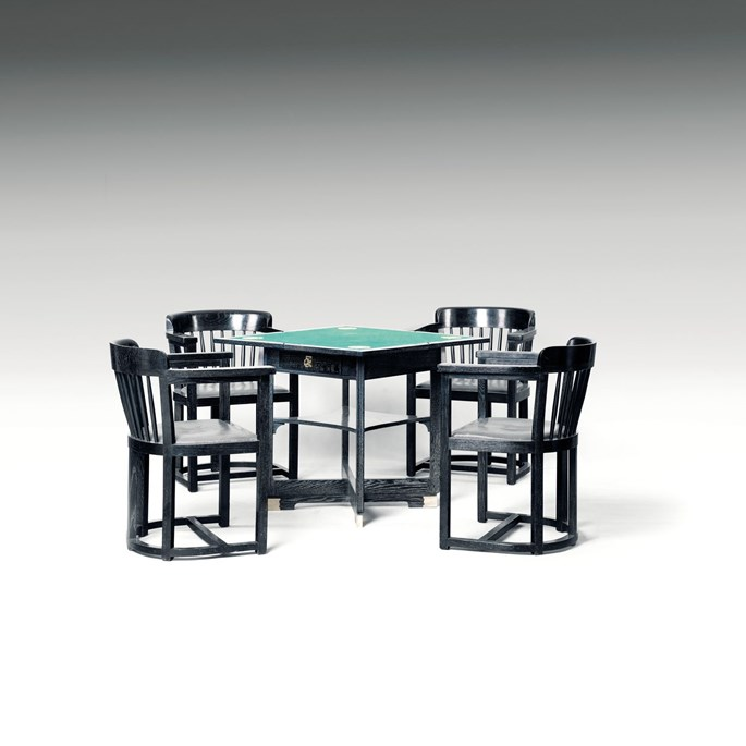 Hans Vollmer or Wilhelm Schmidt - GAMING TABLE WITH FOUR ARMCHAIRS consists of: 1 extendable gaming table, 4 armchairs | MasterArt