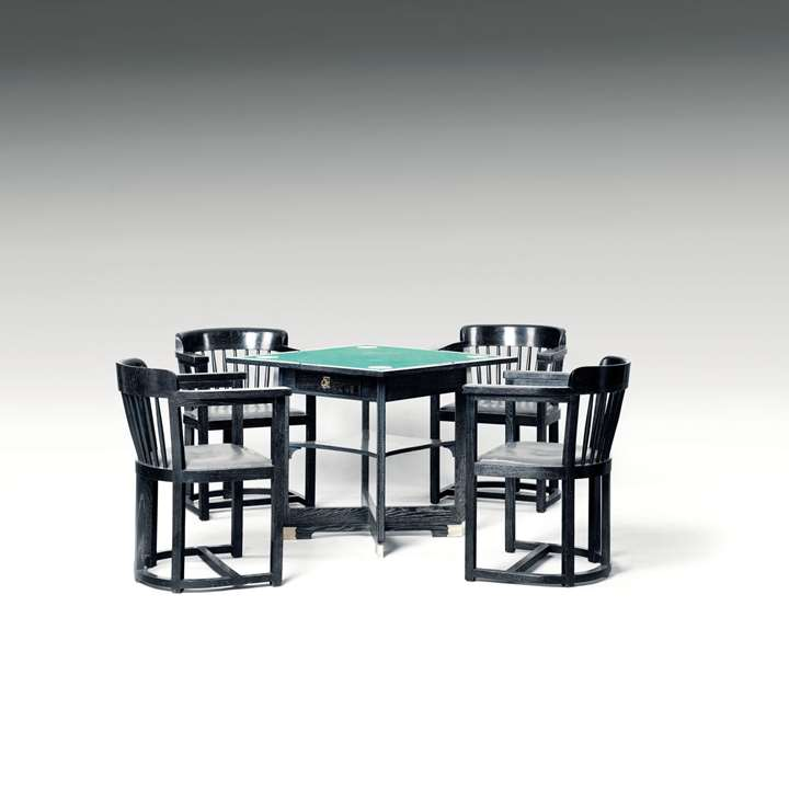 GAMING TABLE WITH FOUR ARMCHAIRS consists of: 1 extendable gaming table, 4 armchairs