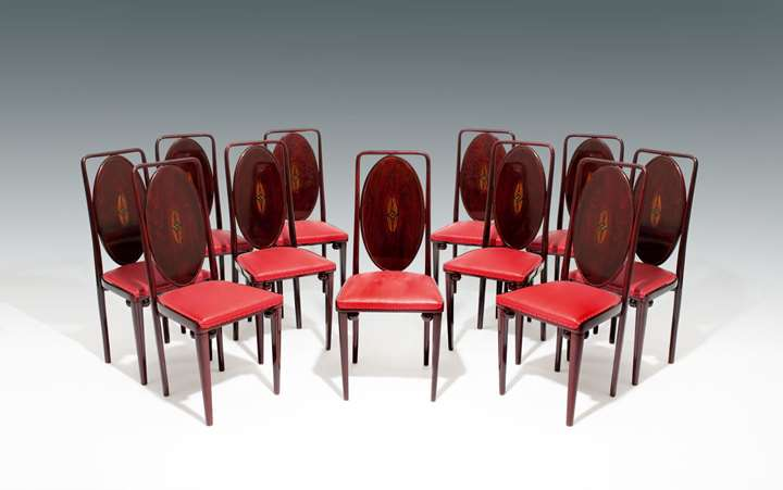 A SET OF TEN SIDE CHAIRS