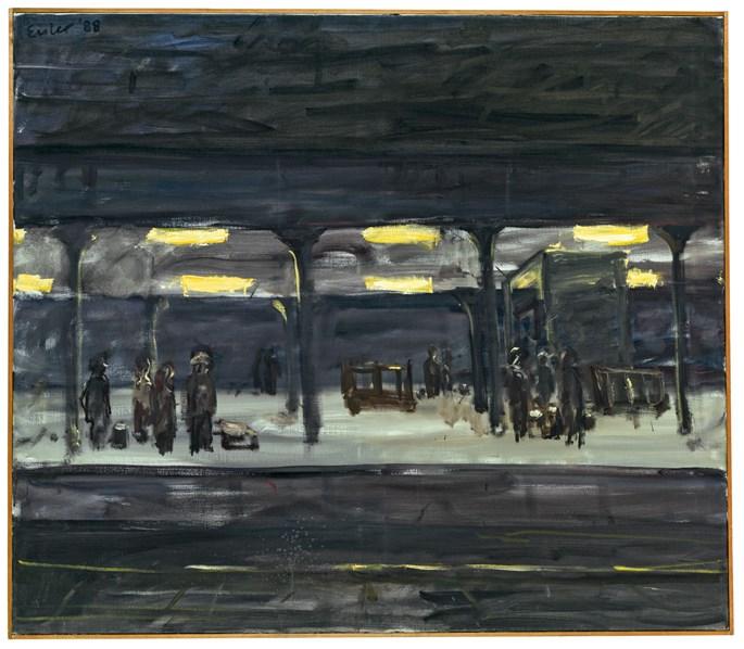 Georg Eisler - RAILWAY STATION AT NIGHT | MasterArt