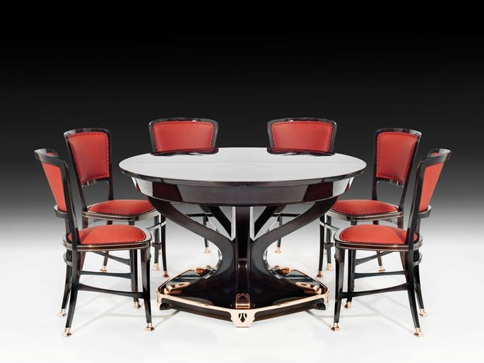 "Portois & FIX - STATELY DINING ROOM TABLE AND 6 CHAIRS ""MODELL LONDON"" 