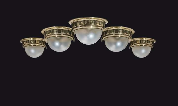 FIVE CEILING LIGHTS FOR THE VIENNA METROPOLITAN RAILWAYS