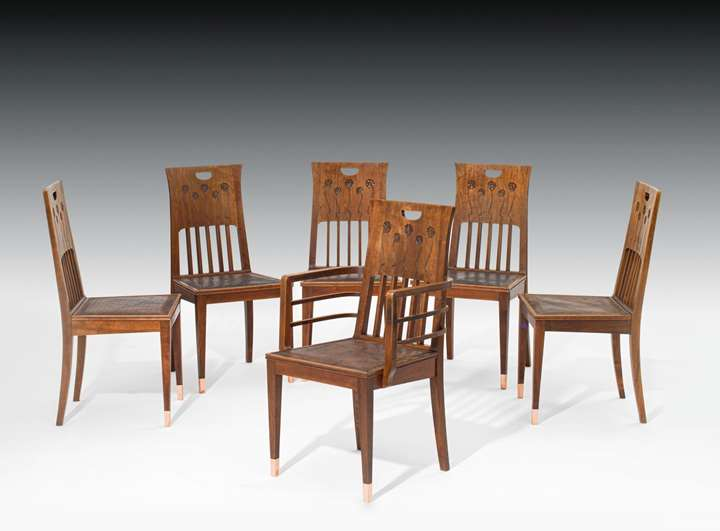 ONE ARMCHAIR AND FIVE CHAIRS
