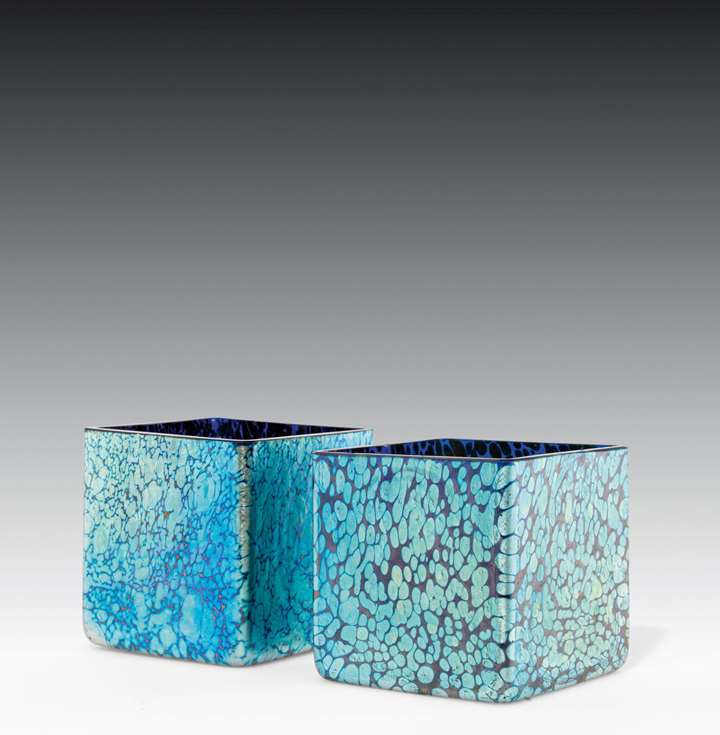 A PAIR OF CUBE VASES