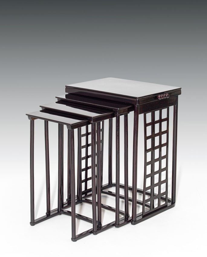 Josef  Hoffmann - NESTING TABLES WITH SQUARE LATTICEWORK | MasterArt