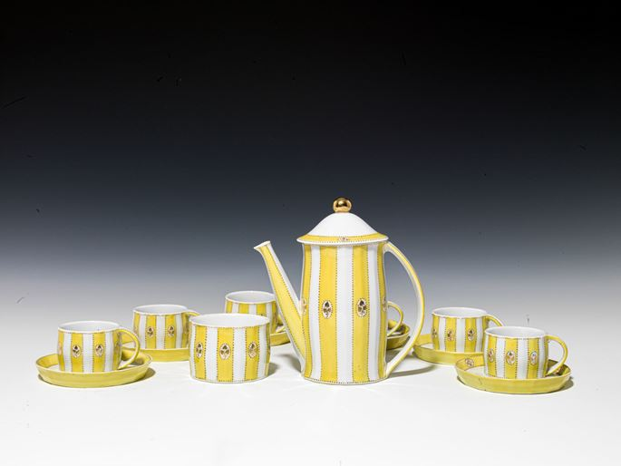 "Josef  Hoffmann - MOCHA SERVICE ""MERKUR"" consisting of: 6 cups, 6 saucers, mocha pot, sugar bowl, 1 lid | MasterArt"