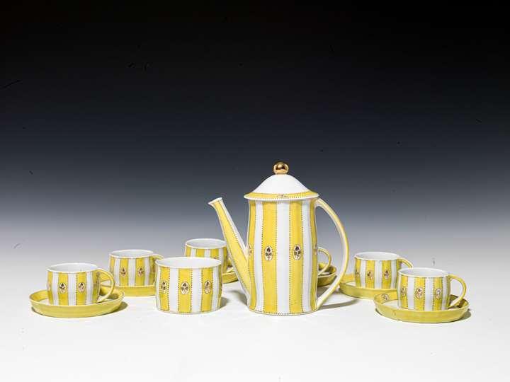 """MOCHA SERVICE """"MERKUR"""" consisting of: 6 cups, 6 saucers, mocha pot, sugar bowl, 1 lid"""