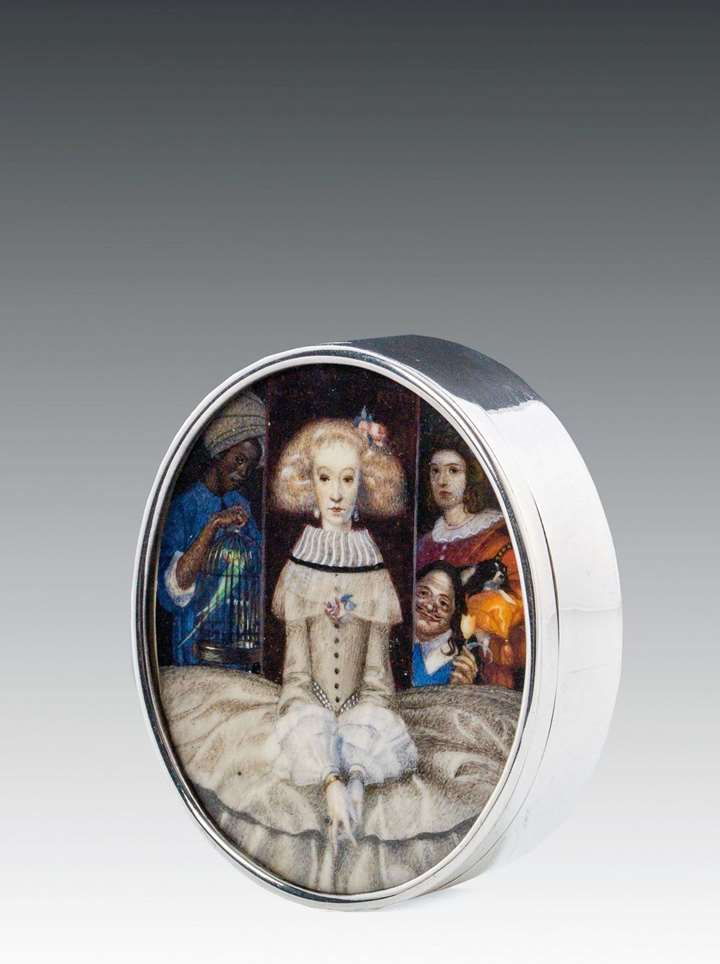 SILVER BOX WITH PORTRAIT MINIATURE ON IVORY
