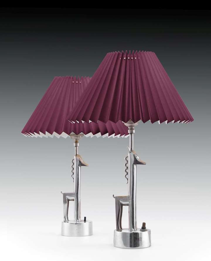 A PAIR OF GIRAFFE TABLE LAMPS