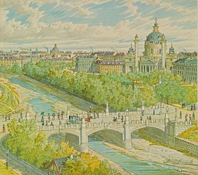 FRANZ  GERASCH - VIEW ACROSS THE RIVER VIENNA TO THE KARLSKIRCHE   MasterArt