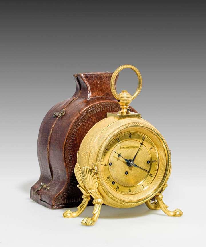 CASED EMPIRE/BIEDERMEIER CARRIAGE CLOCK WITH ALARM