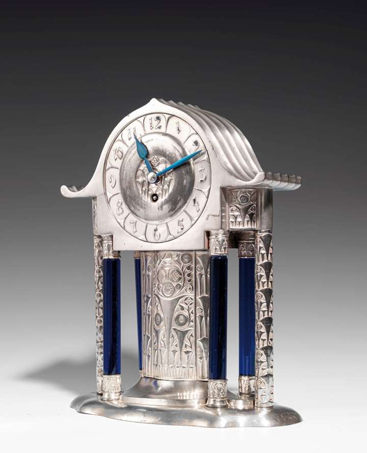 MANTEL CLOCK WITH BLUE GLASS COLUMNS