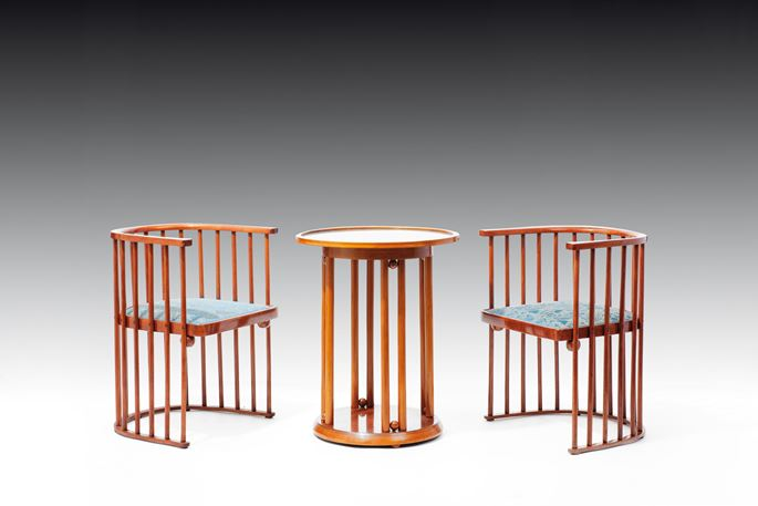 "Josef  Hoffmann - TWO ARMCHAIRS AND A ""FLEDERMAUS"" TABLE 