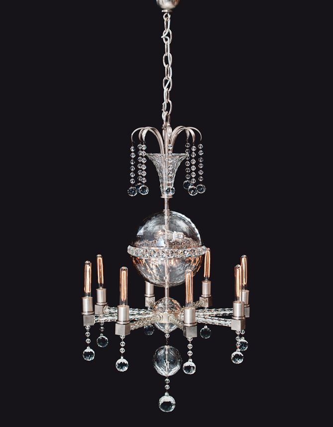 Leopold Bauer - A RARE AND EXTRAORDINARY CHANDELIER AND A PAIR OF WALL SCONCES | MasterArt