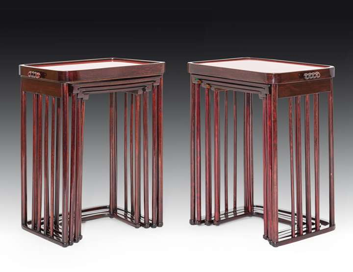 A pair of nesting tables