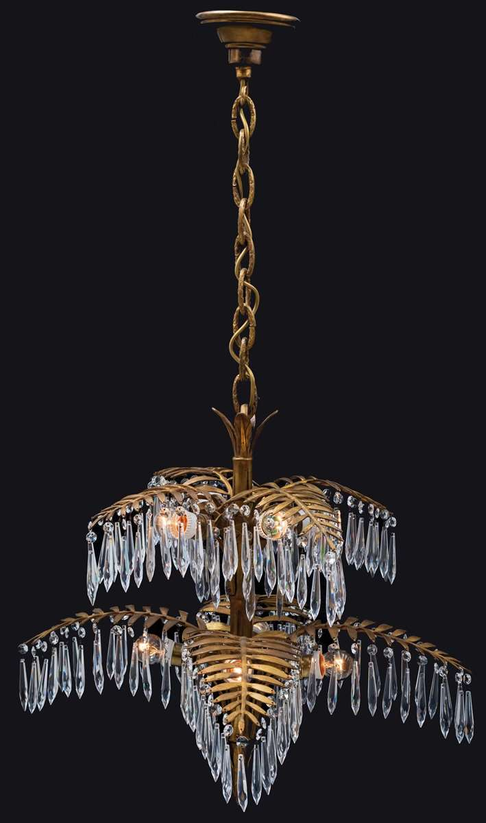 EIGHT-FLAME PALM-SHAPED GLASS CHANDELIER