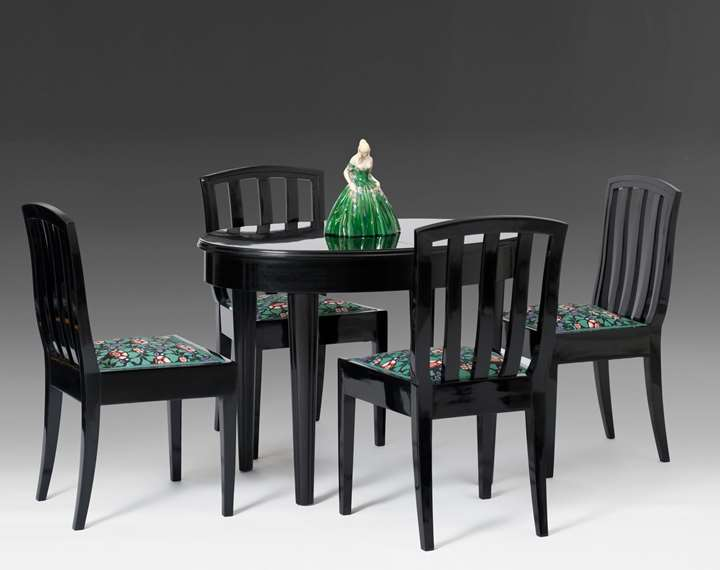 DINING TABLE, SIX ARMCHAIRS, MIRROR
