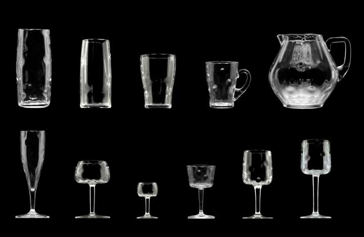 57-PIECE SET OF GLASSWARE  from table service no. 100a