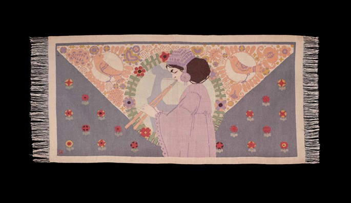 "ART NOUVEAU TAPESTRY ""GIRL WITH FLUTE""  
