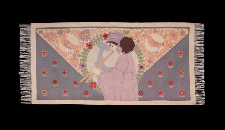 "ART NOUVEAU TAPESTRY ""GIRL WITH FLUTE"""